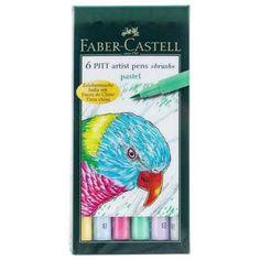 Pastel India Ink Pitt Artist Brush Pens 6-Pack