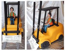 FORKLIFT Cake | 3dimensional forklift for a driver on his 21st birthday chocolate cake ...