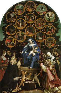 """The Virgin Mary's Rosary Prayer Apparition in Prouille, France: The painting """"Madonna of the Rosary"""" by Lorenzo Lotto. It portrays the Virgin Mary teaching the Rosary prayer to Saint Dominic. Rosary Prayer, Praying The Rosary, Holy Rosary, Rosary Catholic, Catholic Art, Religious Art, Religious Paintings, Religious Images, Decades Of The Rosary"""