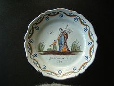 Antique French faience platter