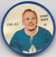 1961-62 Johnny Bower Toronto Maple Leafs Shirriff Hockey Coin # 41 NM