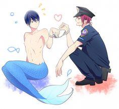 Free! - Iwatobi Swim Club, haruka nanase, haru nanase, haru, nanase, haruka, rin matsuoka, rin, matsuoka, free!, iwatobi, rinharu, merman, cop