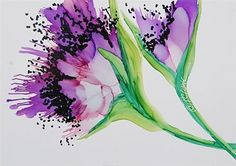 "Daily Paintworks - ""Lavender Poppy II, 5 x 7 inch Alcohol Ink, Floral"" - Original Fine Art for Sale - © Donna Pierce-Clark"