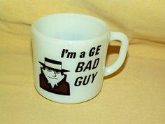 General Electric Mug GE Bad Guy Anchor Hocking Milk Glass USA I Had A Bad Idea…