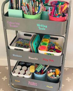 Kids Craft Storage, Craft Organization, Organizing, Playroom Storage, Kids Homework Station, Study Room Decor, Art Cart, Toy Rooms, Home Learning