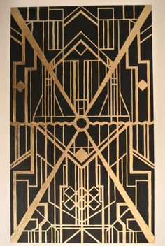 Gold leaf with black paint - homage to art deco