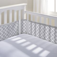 Breathable Baby Mesh Crib Liner - Gray Clover A safe bumper for baby's crib made of soft breathable mesh in fashionable prints and colorful solids.
