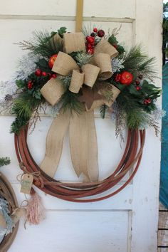 Western Lasso Christmas Rope Wreath - rustic cowboy Christmas country holiday…