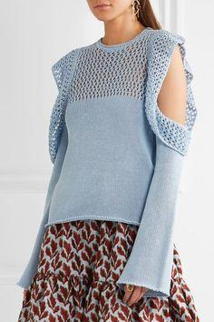 Philosophy di Lorenzo Serafini - Cutout Open-knit Cotton Sweater - Blue - IT38