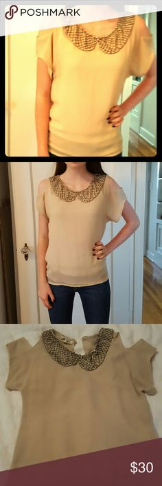 L'affaire Blouse with beaded collar Polyester, looks like silk crepe, unlined l'affaire   Tops Blouses