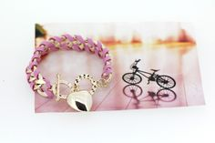 Korean Stylish Lady Love Pendant Designed Handmaking Alloy and Leather Rope Pink Charming Woven Bracelets for Girls
