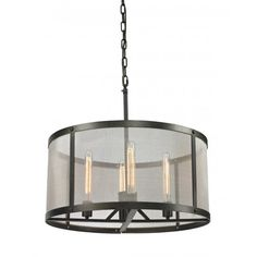 CDI International Riveted Mesh 4 Light Drum Chandelier
