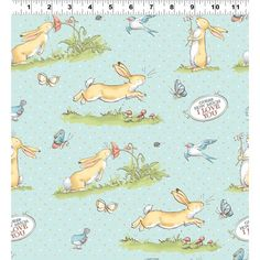 Guess How Much I Love You Scenic Bunny Aqua Fabric Yardage - Fabric Collection By Clothworks Aqua Fabric, Movie Themes, Mini Things, Classic Books, I Love You, It Works, Kids Rugs, Quilts, Sewing