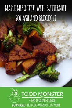 Maple Miso Tofu With Butternut Squash And Broccoli! Dairy Free Recipes, Vegetarian Recipes, Cooking Recipes, Tempeh, Tofu, Fall Recipes, Asian Recipes, Green News, Food Inc