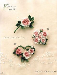 Crochet Corsage of English Garden 100 Design by JapanLovelyCrafts