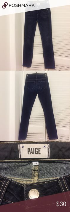 Paige Dark Wash Jeans Cute and comfy Paige dark wash straight leg jeans. Great jeans and in great condition! 🌟Open to reasonable offers!🌟 PAIGE Jeans Straight Leg