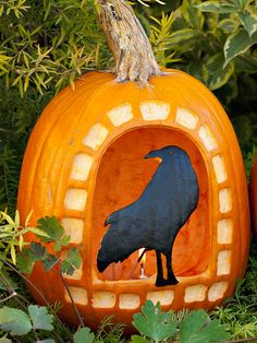 "Something to Crow About ~~ Create this eerie crow jack-o-lantern to set out on Halloween night. The watchful bird is perched on the sill of a ""window"" carved into a bright orange pumpkin."
