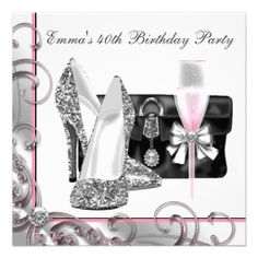 Womans Pink 40th Birthday Party Invitations We have the best promotion for you and if you are interested in the related item or need more information reviews from the x customer who are own of them before please follow the link to see fully reviewsThis Deals Womans Pink 40th...