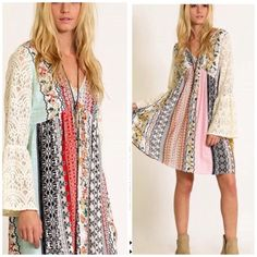 Floral mixed patchwork print boho dress Mixed boho print tunic dress with flare lace sleeves best seller only available in lighter version in right side of cover photo . Small will fit medium A line Light version only small left . This listing is for Darker combo Fuschia . Medium will fit large . Vivacouture Dresses Long Sleeve