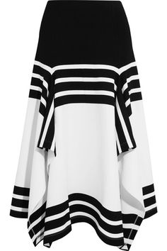 Rosetta Getty - Asymmetric Striped Stretch-jersey Midi Skirt - White - small