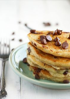 Vegan chocolate chip oatmeal pancakes - a delicious treat for a weekend breakfast! #sponsored #vegan