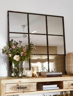 Fabricamos a medida espejos con armazón de hierro, tipo o imitación ventana. Medidas personalizables. Espejos de hierro estilo industrial.
