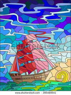 Illustration in stained glass style with the sailboat against the sky, the sea and the setting sun