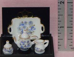 Dollhouse Miniature Tea Set Blue Onion with Tray  Reutter Porcelain Minis   #Reutter