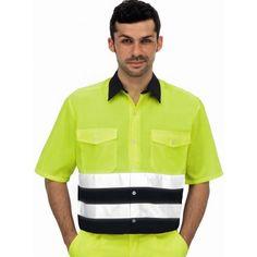 Camisa Manga Corta Dos Bolsillos Alta visibilidad Combinada Referencia  3014 Marca:  Vesin  Cuello camisero. Abierta entera. 2 bandas reflectantes en contorno de pecho. Bolsillos: 2 de pecho con tapeta.