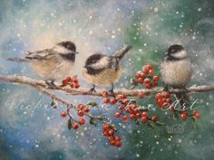 Chickadees Print, three chickadees, paintings, prints, winter birds, bird art, red, Vickie Wade