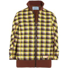 Prada Checked jacquard-knit bomber jacket (€1.600) ❤ liked on Polyvore featuring outerwear, jackets, jacquard jacket, brown jacket, zip jacket, brown bomber jacket and colorful jackets