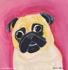 Surprise! Pug Painting — Chickenpants Studio Pug Illustration, Pug Art, Pugs, Lovers, Art Prints, Studio, Canvas, Gifts, Painting