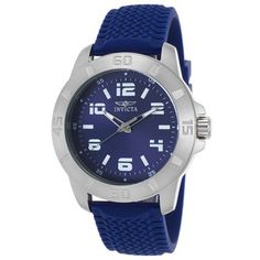 Invicta 21859 Men's Pro Diver Blue Textured Polyurethane And Dial Watch Chronograph, Omega Watch, Watches For Men, Blue, Accessories, Watches, Men's Watches, Jewelry Accessories