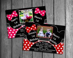 Mickey & Minnie Mouse Birthday Invitation OR Thank you Card Boy Girl, GG BB  Custom Colors. $8.99, via Etsy.