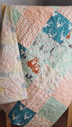 Your place to buy and sell all things handmade Baby Girl Quilts, Girls Quilts, Forest Animals, Machine Quilting, Toddler Girl, Delicate, Woodland Baby, Cotton, Pink