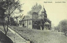 Loveland School on right and St. Columban Rectort/Church on the left, possibly around 1945 or 1946 - Loveland