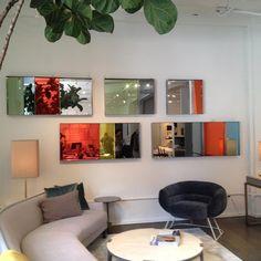 Fragmented mirrors Installation - NY @ Avenue Road New York showroom - Series of 5 pieces New colors: Eucalyptus, reflective green, grey blue, Kaki and + Françoise Turner Larcade #FragmnetedMirrors #Mirror #FrancoiseTurnerLarcade #AvenueRoadNewYork