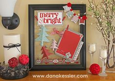 Altered Design Decor Frame Holiday Christmas using Artbooking Cricut Cartridge #ctmh #scraptabulous