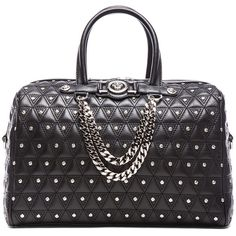 VERSACE Leather Studded Tote with Strap in Black (4.315 BRL) ❤ liked on Polyvore featuring bags, handbags, tote bags, borse, versace, black, versace purses, tote handbags, handbags totes and tote purses