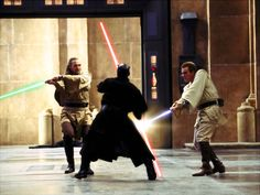 Darth Maul vs. Obi-Wan Kenobi and Qui-Gon Jinn The Phantom Menace (best one for me )