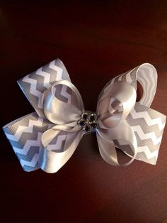 Chevron Double Stacked Twisted Boutique Bow - Available in Hot Pink, Grey or Custom on Etsy, $8.00