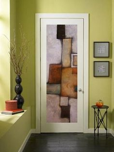 Mexican artist Agustin Castillo paints abstract, contemporary art on interior doors.  Because a blank door makes the perfect canvas! door art. abstract art. interior doors. interior design ideas. decorating. modern design.