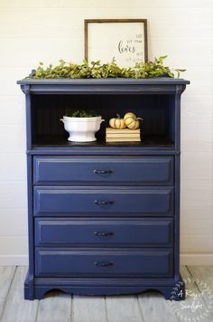A Ray of Sunlight: Finished Furniture This tall dresser, featuring 4 dovetailed drawers and a large open shelf, is painted Navy blue with rubbed bronze hardware. Broken Dresser Drawer turned shelf