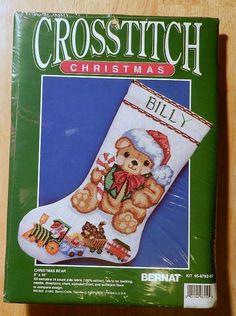 New Bernat Cross Stitch Kit Christmas Stocking Christmas Bear 95-8782-00 #Bernat