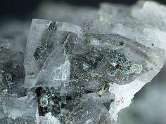 Lennilenapeite, K6-7(Mg,Mn,Fe,Zn)48(Si,Al)72(O,OH)216·16H2O, in calcite, Franklin Mine, Franklin, Franklin Mining District, Sussex Co., New Jersey, USA. Copyright © Marko Burkhardt