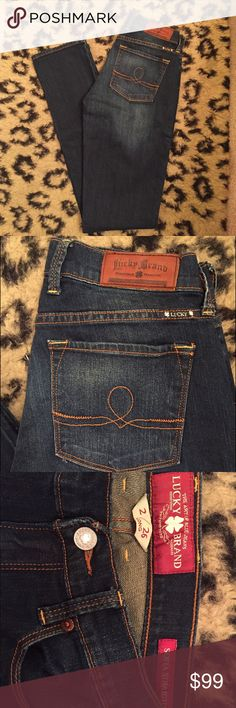 "Brand-new Lucky Sophia Straight jeans Never worn. Size 2/26 long. Inseam is approximately 33"". Lucky Brand Jeans Straight Leg"