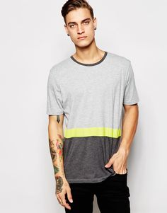 Image 1 ofASOS T-Shirt With Neon Stripe In Relaxed Skater Fit