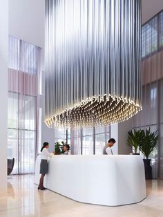Twitter / thecoolhunter: Cool light installation at Hotel Lobby Design, Modern Hotel Lobby, Lobby Interior, Interior Architecture, Singapore Architecture, Luxury Interior, Interior Ideas, Modern Interior, Commercial Design