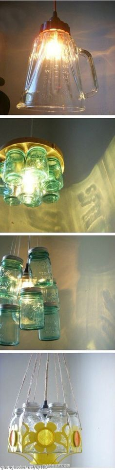 lamparas hechas vidrios muy ingenioso