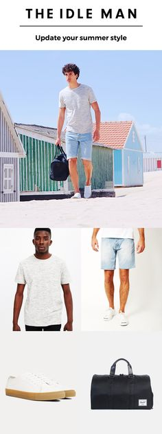 Click to shop the look and update your summer style for a chilled out vibe that's holiday ready. Wear denim shorts, a white slub tshirt, Garment Project shoes and a Herschel duffle bag. http://theidleman.com/inspiration/lookbook-summer-16.html